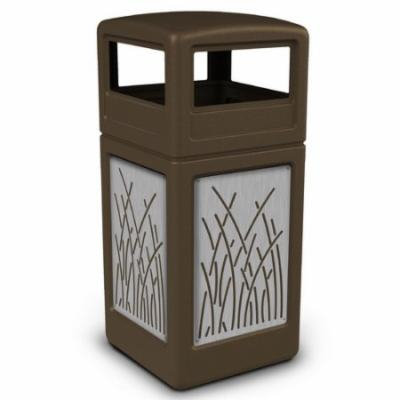 Commercial Zone Precision Series 42 Gallon Waste Containers with Dome Lid and Stainless Steel Panels Reeds Design