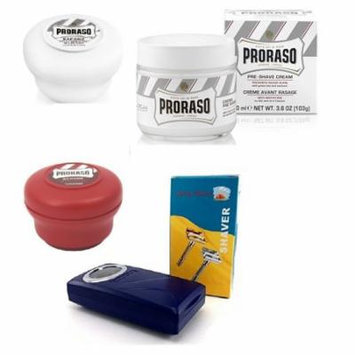 Proraso Shave Soap Sensitive 150ml + Proraso Shave Soap Sandalwood 150ml + Shaving Factory Double Edge Safety Razor, Silver + Proraso Pre Shaving Cream w/ Green Tea & Oatmeal 100ml