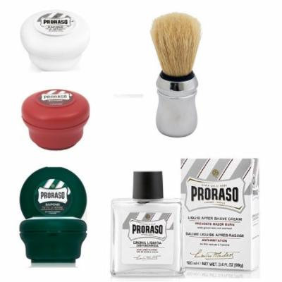 Proraso Shave Soap Sensitive 150ml + Proraso Shave Soap Sandalwood 150ml + Proraso Shaving Soap Menthol and Eucalyptus 4oz + Proraso Shaving Brush + Proraso Liquid After Shave Cream, 3.4 Ounce