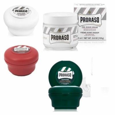 Proraso Shave Soap Sensitive 150ml + Proraso Shave Soap Sandalwood 150ml + Proraso Shaving Soap Menthol and Eucalyptus 4oz + Proraso Pre Shaving Cream w/ Green Tea & Oatmeal 100ml