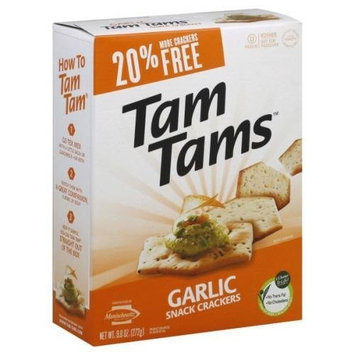Manischewitz Garlic Tam Tams Snack Cracker, 9.6 Ounce -- 12 per case.