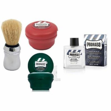 Proraso Shave Soap, Sandalwood 150 ml + Proraso Shaving Soap Menthol and Eucalyptus 4 Oz + Proraso Professonal Shaving Brush + Proraso After Shave Balm Protective, 3.4 Fluid Ounce