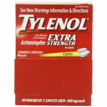 2 Pack Tylenol Extra Strength 50 packets of 2 tablets 500mg. 100 Tablets Per Box