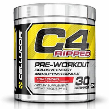 Cellucor C4 Ripped Pre Workout Thermogenic Fat Burner with Energy and Weight Loss, Fruit Punch, 30 Count