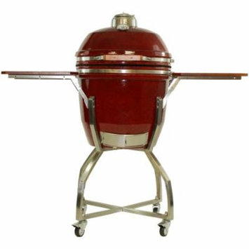 19 In. Ceramic Kamado Grill in Red with Stainless Steel Cart and Accessories Package