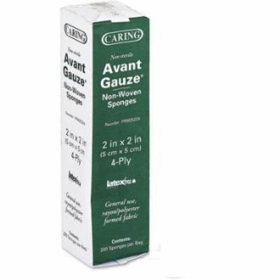 """Caring Avant Gauze Pads Non-Sterile 2"""" x 2"""" 5 Package = 1000 Pads MS42210"""