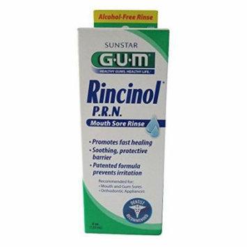 5 Pack - GUM Rincinol P.R.N. Mouth Sore Rinse 4oz Each