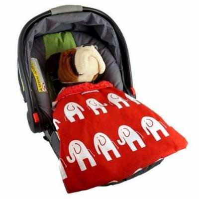 Blue Baby Bum Elephant Car Seat Blankie, Red