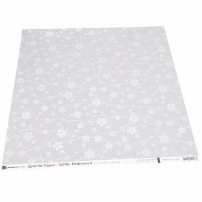 Papermania Glitter Embossed Vellum 12X12-Spring Floral