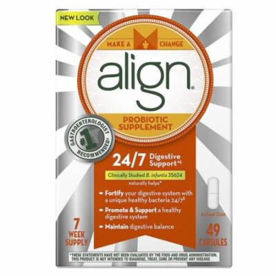 Align Probiotic Supplement 24/7 Digestive Support 49ct 7-week Gastro Gluten-Free Bifantis Natural