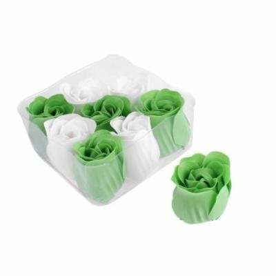 Wedding Gift Bath Supplies Rose Flower Style Body Petal Soap Green White 9pcs