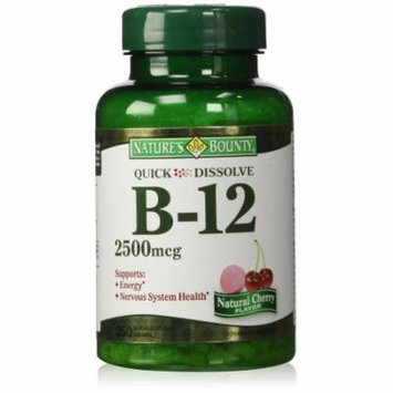 Nature's Bounty Quick Dissolve Fast Acting Vitamin B-12 2500 mcg, Natural Cherry Flavor (250 tablets)