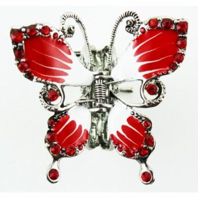 Butterfly Hair Clip - Silver Tone Butterfly Hair Accessory (Red)