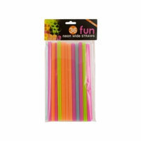 Neon Wide Fun Straws (Case of 144 )