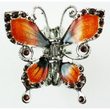 Butterfly Hair Clip - Silver Tone Butterfly Hair Accessory (Orange)