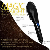 Magic-Straight Salon Grade Professional Hair Straightening Brush with Variable Temperature Control, Anti Frizz, Anti Scald, Anion, Detangling, Digital Display and Ceramic heating Plates (Black)