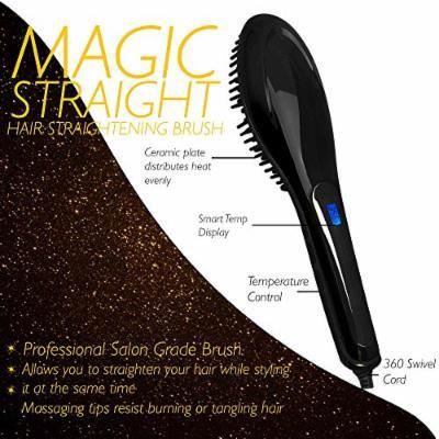Magic-Straight Salon Grade Professional Hair Straightening Brush with Variable Temperature Control, Anti Frizz, Anti Scald, Anion, Detangling, Digital Display and Ceramic heating Plates (Black)
