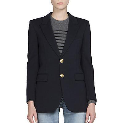 Saint Laurent Anchor Button Wool Jersey Blazer