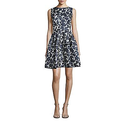 Oscar de la Renta Floral Gazar Faille Coupe Dress