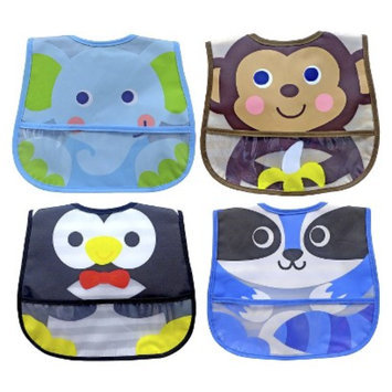 Neat Solutions 4pk Animal Character Bib Set - Blue