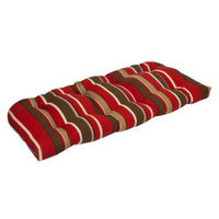 Pillow Perfect Outdoor Bench/Loveseat/Swing Cushion - Brown/Red Stripe