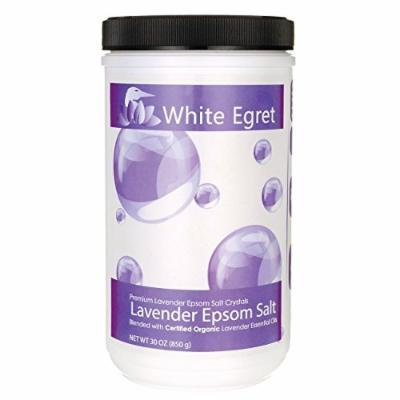 White Egret Pharmaceutical Grade Bath Epsom Salt, Lavender, 30 Ounce