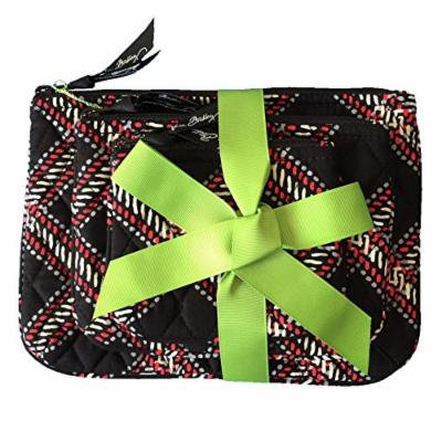 Vera Bradley Cosmetic Trio Minsk Plaid of 3 with Solid Black Lining