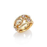 Oscar de la Renta Circular Crystal Ring - Gold