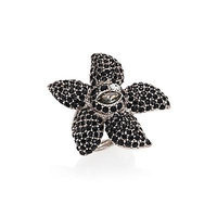 Oscar de la Renta Tropical Bloom Crystal Star Ring - Black