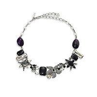Oscar de la Renta Tropical Bloom Crysal Necklace - Black