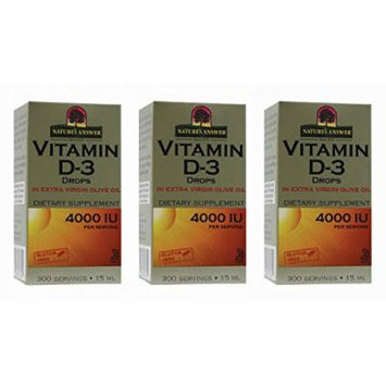 Nature's Answer Vitamin D-3 Drops 4000 LU, 3 Count