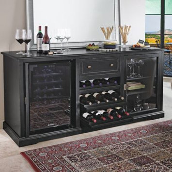 Wine Enthusiast Siena Wine Credenza - Nero with Two 28 Bottle Touchscreen Wine Refrigerators