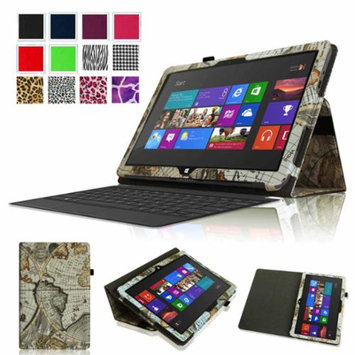 Fintie Folio Leather Case Cover for Microsoft Surface RT / Surface 2 10.6 inch Tablet, Map Design