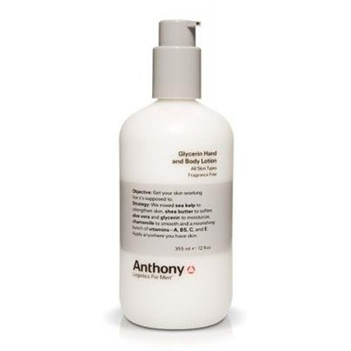 Anthony Logistics for Men Glycerin Hand and Body Lotion, 12 Ounce