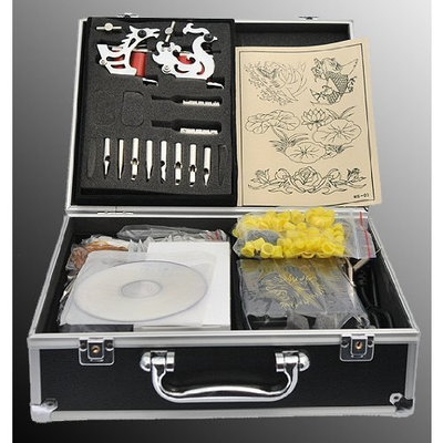 Eyepower Tattoo Kit 2 Machine Gun Complete Power Supply Needles 7 Inks By Attu