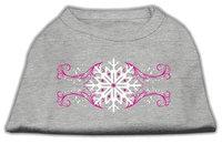 Mirage Pet Products 512517 LGGY Pink Snowflake Swirls Screenprint Shirts Grey L 14