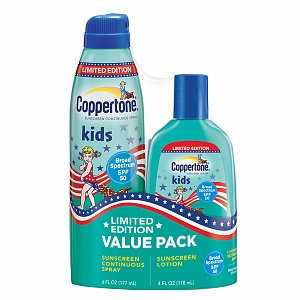 Coppertone Kids Clear Continuous Spray SPF 50 6 oz with Kids SPF 50 Lotion 4 oz (Value Pack)