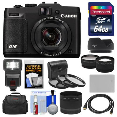 Canon PowerShot G16 Wi-Fi Digital Camera (Black) with 64GB Card + Case + Flash + Battery + HDMI Cable + Tele/Wide Lenses + Filter Kit