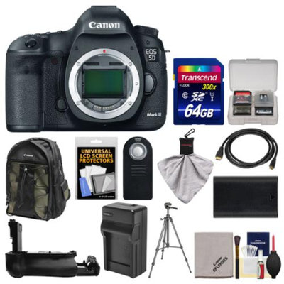 Canon EOS 5D Mark III Digital SLR Camera Body with 64GB Card + Backpack + Battery/Charger + Grip + Tripod + Kit