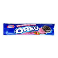 Oreo Sandwich Cookies with Strawberry Flavor, chocolate, chocolate cookies, strawberry, strawberry cookies, cookies