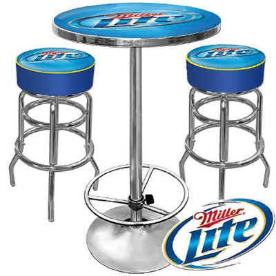 Trademark Global Ultimate Miller Lite Gameroom Combo - 2 Bar Stools and Table