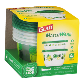 Glad MatchWare Round Containers & Lids - 4 CT