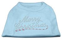 Mirage Pet Products 522507 XLBBL Merry Christmas Rhinestone Shirt Baby Blue XL 16