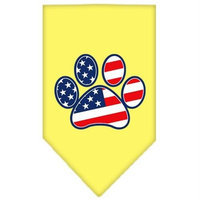Mirage Pet Products 6657 SMYW Patriotic Paw Screen Print Bandana Yellow Small