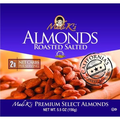 Madi K's Roasted and Salted Almonds, 5.5-Ounce Pouches (Pack of 12)