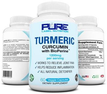 Pure Label Nutr Curcumin Turmeric Curcumin PURE-C Natural Anti-Inflammatory w 1200mg Top Rated #1 Turmeric Supplem