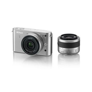 Nikon 1 J1 Silver 10.1MP Digital Camera w/ 3x Optical Zoom, 10mm VR and 10-30mm VR Lenses, 3