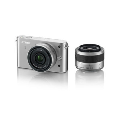 Nikon 1 J1 Silver 10.1MP Digital Camera w/ 3x Optical Zoom, 10mm VR and 10-30mm VR Lenses, 3