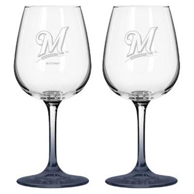 Boelter Brands MLB Brewers Set of 2 Wine Glass - 12oz