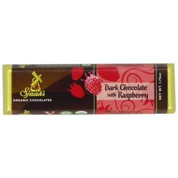 Sjaaks Sjaak's Organic Dark Chocolate Bar with Raspberry, 1.6 Ounce (Pack of 18)